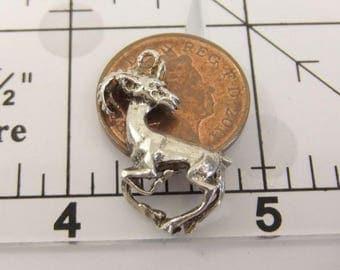 Vintage Sterling Silver Detailed Mountain Goat Bracelet Charm Fob