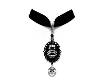 necklace choker velvet black ouija board cameo inverted pentagram pentacle gothic occult esoteric wicca magic witch witchcraft witchy dark