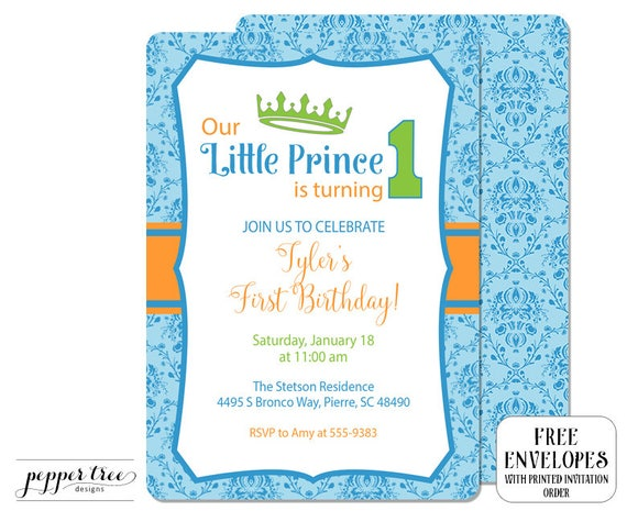 First Birthday Invitation for Boy Little Prince is turning 1