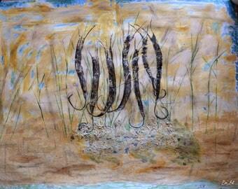 """New - acrylic surreal painting """"Emergence"""""""