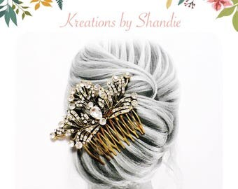 Vintage Filigree Rustic Bridal Comb, Antique gold bridal comb, Rustic wedding comb, Vintage wedding comb, Austrian crystal comb