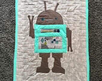 Robot blanket, kids art quilt, child blanket, warm robot blanket, gender neutral baby gift, robot gift, unique blanket