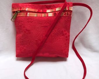 Bright Coral Zippered Shoulder Bag