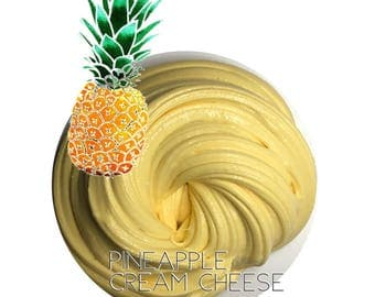Pineapple  Cream cheese butter slime scented piña colada and lemon Super spreadable 6 ounce slime