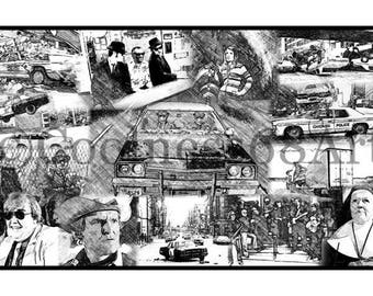The Blues Brothers Collage Original Art Print