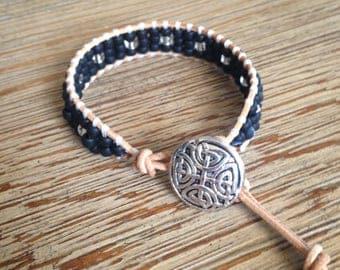 Leather bracelet, beaded bracelet, black beaded bracelet, black bracelet