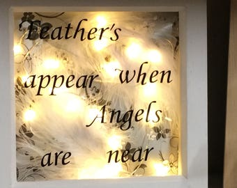 Feather's appear when Angels are near light box frame