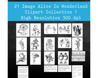 Vintage Alice in Wonderland Clipart Collection 1 - 21 High-Resolution Scans for DIY Projects Scrapbooking Parties and More