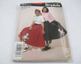 Simplicity It's So Easy sewing pattern for misses' circle skirt pattern 4915, Poodle Skirt, Sock Hop Costume