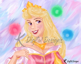Disney's Princess Aurora Painting-INSTANT DIGITAL DOWNLOAD
