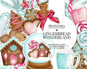 Christmas Gingerbread Watercolor Clipart, Snow Globe Clipart, Gingerbread Cookies Clipart, Christmas Cookies Clipart, Gingerbread House