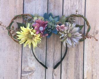 Undead Fantasy (Corpse Bride Inspired Floral Mickey Ears, Mouse Ears, Tim Burton, Halloween Wire Ears, Pastel Disney Ears, Spooky Ears)