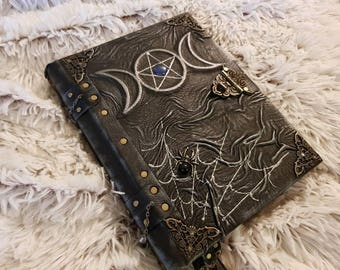 Handmade leather grimoire Pentagram in Tripple Moon.  Notebook