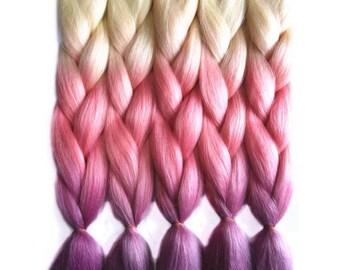 Jumbo kanekalon hair for braiding PINK purple OMBRE