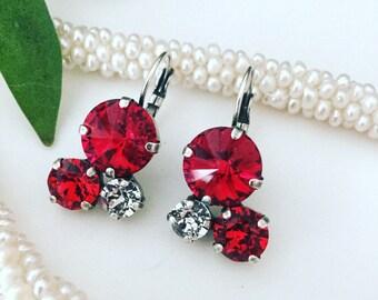 Red Earrings, Valentine Earrings, Red Crystal Earrings