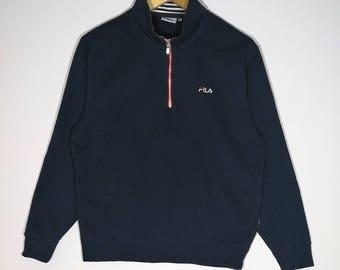 On Sale 15% Rare!! Vintage Fila Sweatshirt half zipper size Medium Activewear Streetwear