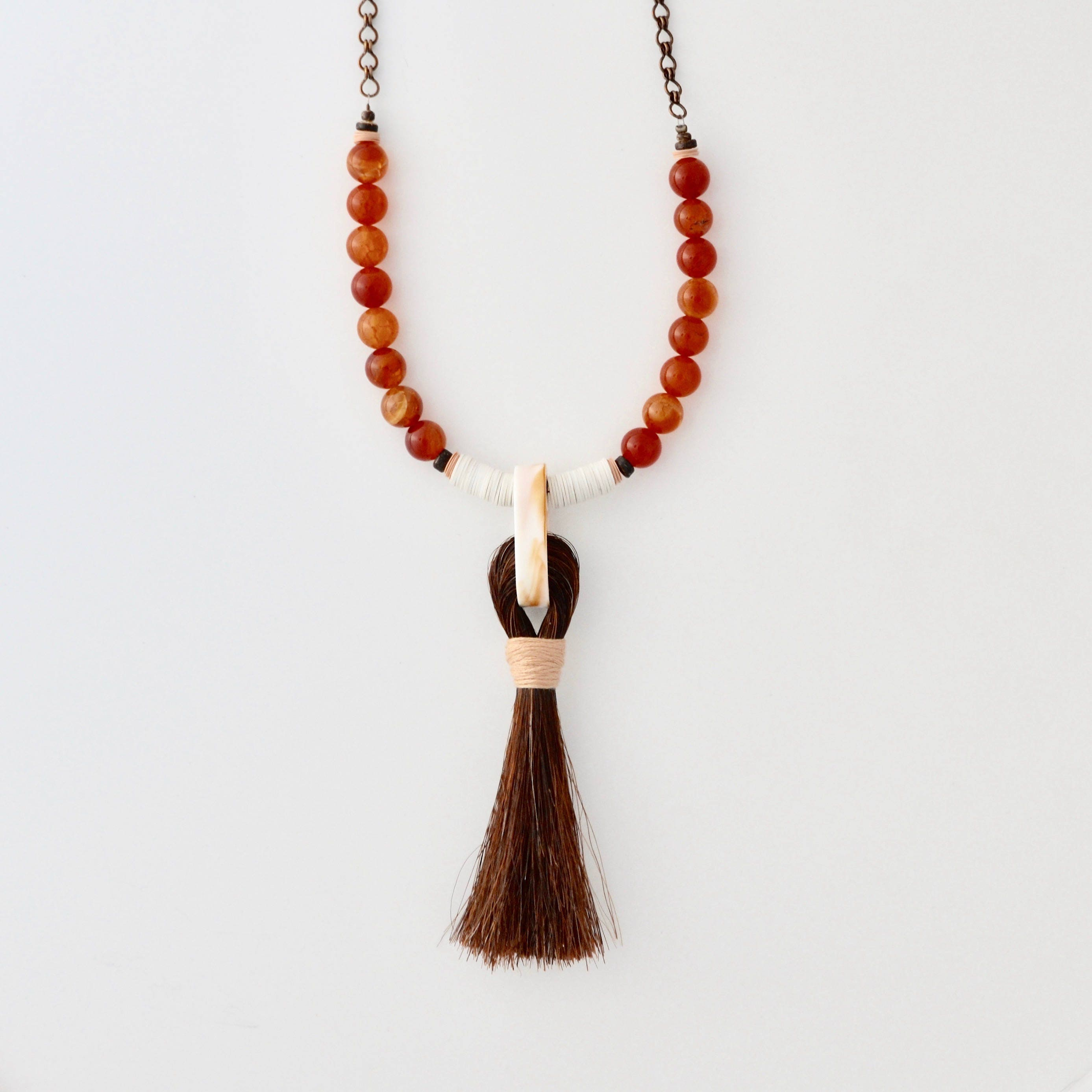 Perfect Boho Orange Beaded Tassel Necklace, Handmade Brown Horse Hair  ZP77