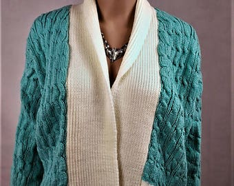 Jacket woman Cardigan, Wool Cardigan, vest handmade vest winter warm vest, vest, twisted, turquoise Cardigan, vest