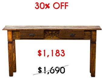 Solid Reclaimed Wood Console with Carving Details Moving Sale 30% Off