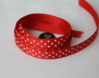 5 Metters Ribbon red grain printed white dots - 1 cm