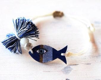 Blue Fish Adjustable Bracelet