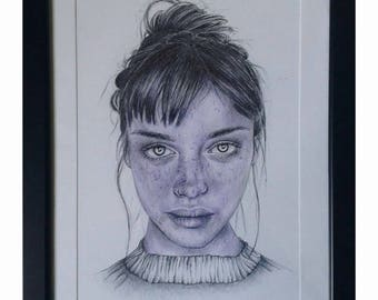 Original pen painting girl