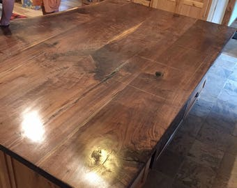Live edge black walnut island top