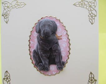 Card 3D (relief) with Labrador puppies card embellished with gold stickers