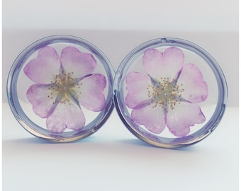 42MM PINK FLOWER PLUGS! Ear plugs, ear stretchers, ear guages.