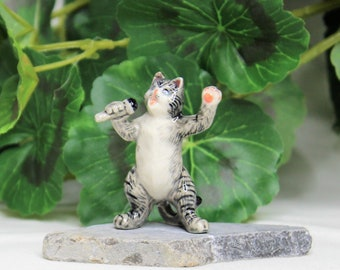 Miniature Fairy Garden Cat Singing, Ceramic Cat Figurines, Porcelain Cat Statues,