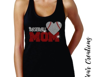 Baseball Mom Rhinestone shirt and tank top