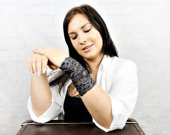 Lace Cuff Bracelet Wrist Tattoo Cover up Gray Wristband Lace Wrist Cuff Lace Jewelry Stretch Bracelet Lace Arm Band Lace Bracelet w4025