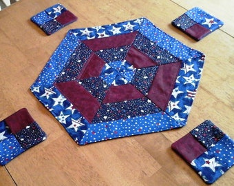 Patriotic Hexagon Table Topper with decorative coasters