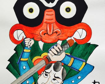 Original A3 Size Painting on Watercolour Paper. Samurai fights a demon - in the style of Japanese manga/ anime.