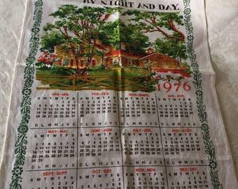 Vintage 1976 Calendar Tea Towel Bless This House Kitchen Towel