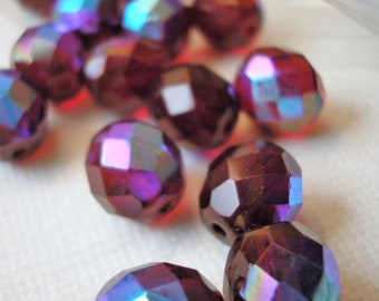 Ruby AB Faceted Beads, Iridescent Deep Red,  Round Beads 9 mm, Pack of 15 Beads, Beading Supplies, Necklace Making, Czech Glass Beads