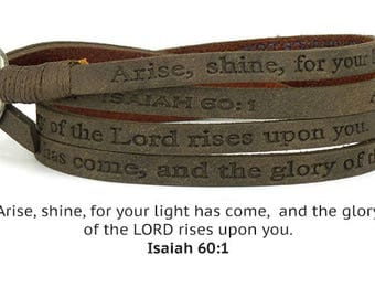 Eco Leather Christian Scripture Wrap Around Bracelet  - Taupe Isaiah 60:1 Arise, Shine for your light has come