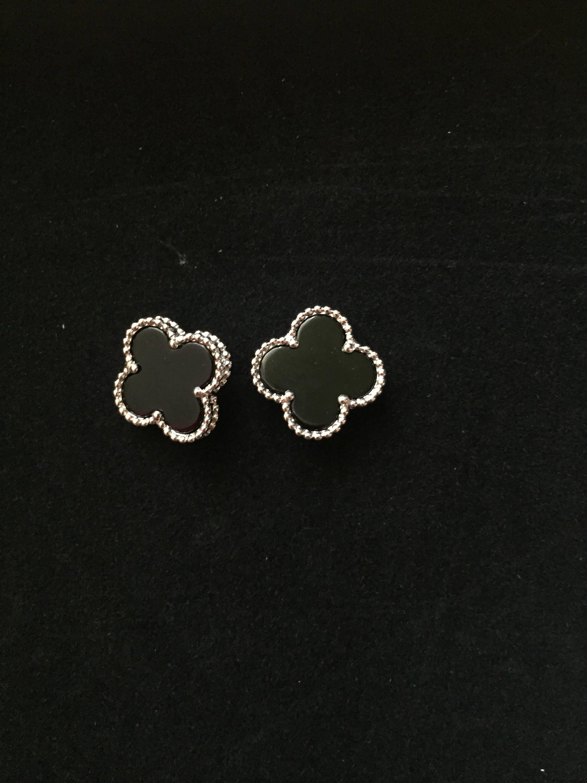 Black Clover Earrings Designer Inspired Jewelry Four Leaf Clover