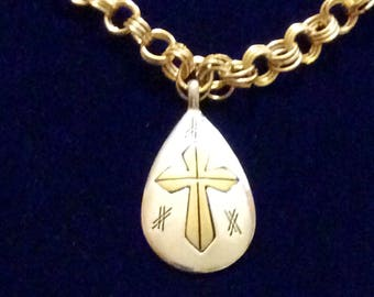 Gold Links with Cross Charm