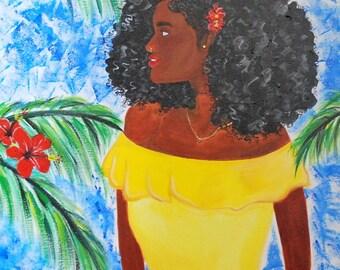 Black Art - Caribbean Women - Original Artwork - Acrylic Painting - Natural Hair