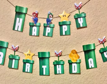 Super Mario Birthday Banner -Do it yourself