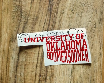 Oklahoma decal -- OU -- Sooners Decal -- Boomer Sooner