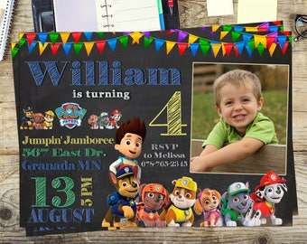Paw Patrol invite, Paw Patrol  invitation, Paw Patrol boy Birthday Party, Personalized, Printable, Digital invitation, Thank you card free