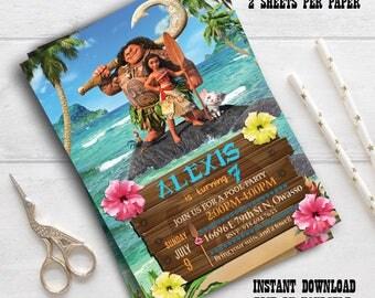 Instant Download-Moana Invitation , Disney Moana , Moana Birthday Invitation, Disney Moana editable invitation, Moana editable pdf invite