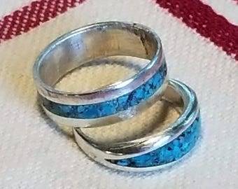 Sterling silver turquoise band, silver wedding band,