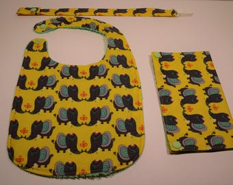Set bib, bib, protects health and elephant pacifier clip