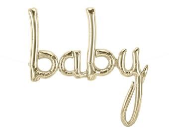"Baby Balloon, 46"", White Gold, Script, Baby, Letter Balloons, Baby Banner, White Gold, Garland, Baby Banner, Shower Balloon, Photo Prop"