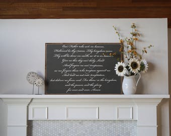 The Lords Prayer Wood Sign 24X36""