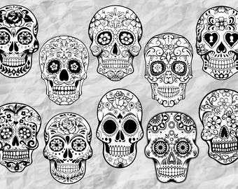 10 Sugar Skull ClipArts | Sugar Skulls SVG cut files | Sugar Skull Black&White | Day of the Dead | Sugar Skull outline | SVG files | vectors