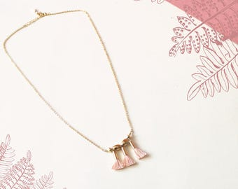 Kafe necklace with hand made and gold tassels with fine gold